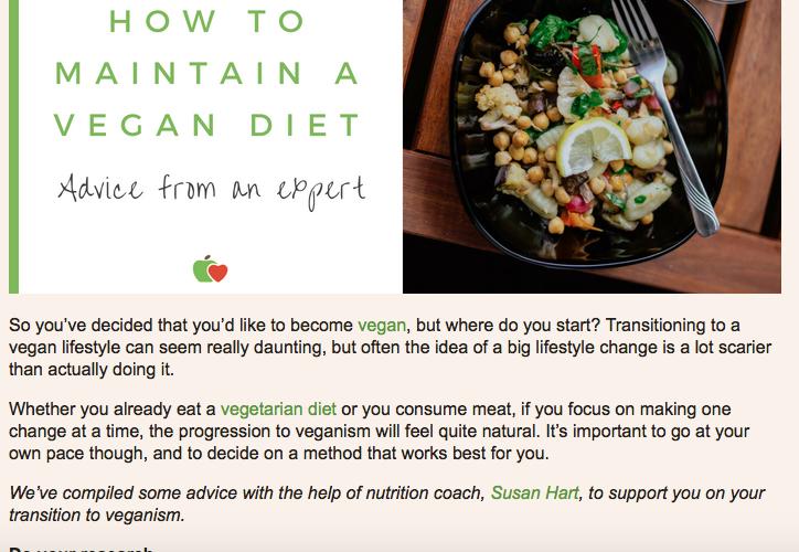 How to maintain a vegan diet - Susan Hart